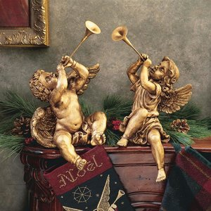 Trumpeting Angels of St. Peters Square: Set of Boy & Girl Angels