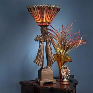 Twin Flower Maidens Stained Glass Lamp