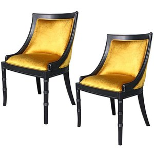 Set of Two Emperor Caesar Neoclassical Swing Back Side Chairs