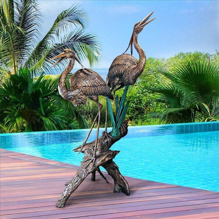 View larger image of Two Herons on a Log Cast Bronze Garden Statue
