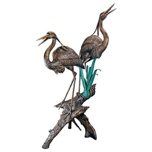 Two Herons on a Log Cast Bronze Garden Statues