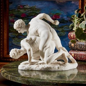 Two Wrestlers Bonded Marble Resin Statue