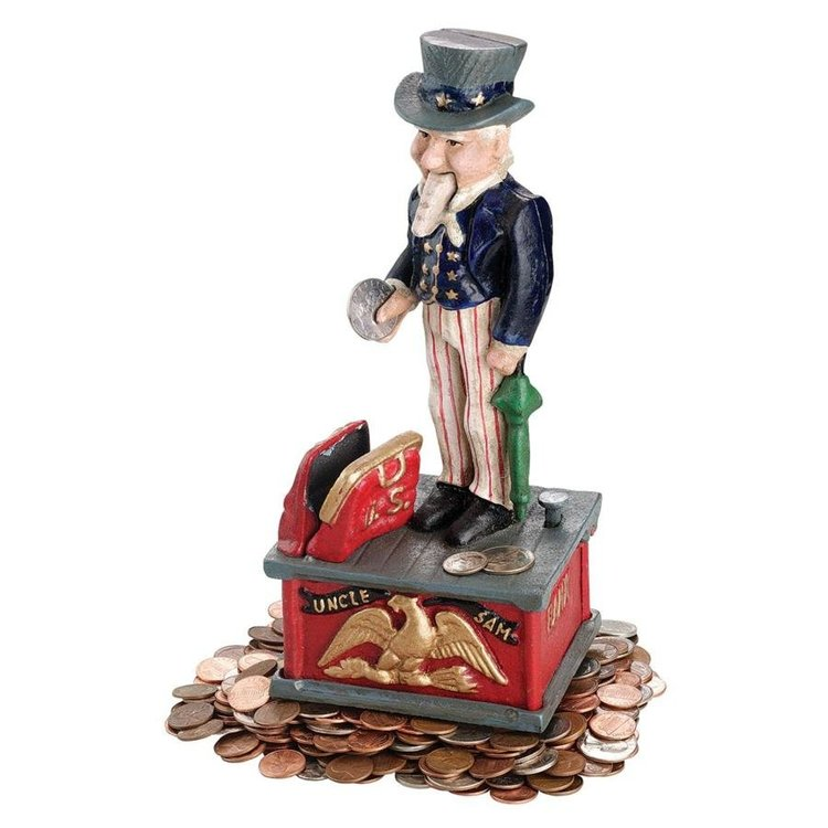 View larger image of Uncle Sam Cast Iron Mechanical Bank - Set of Two