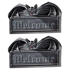 Vampire Bat Welcome Wall Sculpture Set of Two