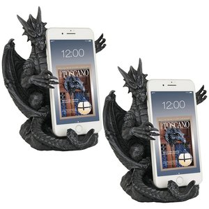 Versilius the Dragon Statue Medieval Cell Phone Holder: Set of Two