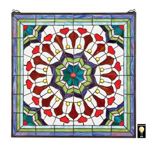 Victorian Floral Tiffany-Style Stained Glass Window