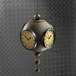 Victorian Grunge Hanging Spherical Four-Sided Clock