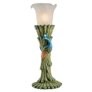 Victorian Peacock Torchiere Sculptural Table Lamp