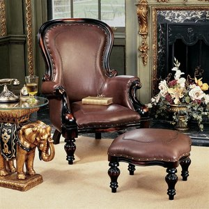 Victorian Rococo Faux Leather Wing Chair and Ottoman