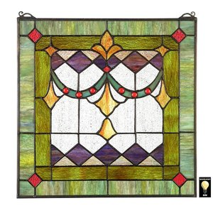 Victorian Swag Tiffany-Style Stained Glass Window
