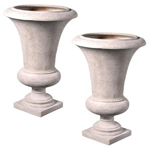 Viennese Architectural Garden Urn: Large Set of Two