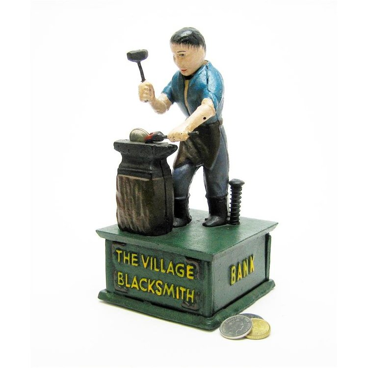 View larger image of The Village Blacksmith Collectors' Die Cast Iron Mechanical Coin Bank