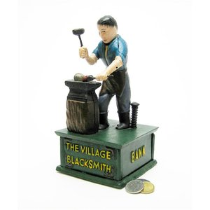 The Village Blacksmith Collectors' Die Cast Iron Mechanical Coin Bank