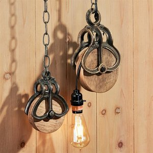 Vintage-Style Cast Iron and Wood Wheel Farm Pulleys