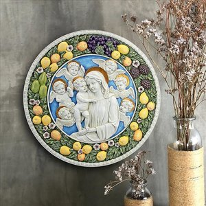 Virgin Mary and Child Roundel Wall Sculpture