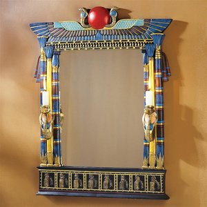 Wadjet Egyptian Wall Mirror with Cobra Sconces