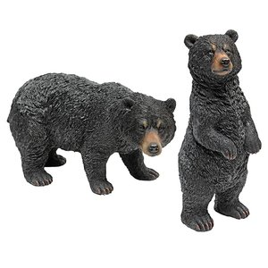 Walking and Standing Black Bear Statues: Set of Two
