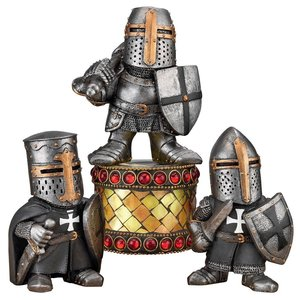 Wee Medieval Crusader Knights of the Gothic Realm Statue Set of Three