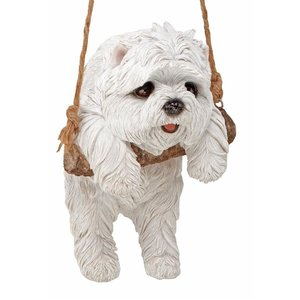 White Maltese Puppy on a Perch Hanging Dog Sculpture
