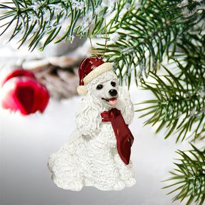 White Poodle Holiday Dog Ornament Sculpture