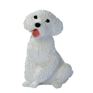 White Poodle Puppy Dog Statue