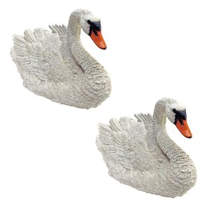 White Swan Statues: Set of Two