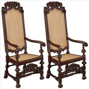 William and Mary Mahogany Armchair: Set of Two