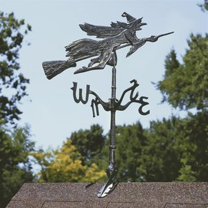 Windblown Wicked Witch Metal Weathervane: Roof Mount