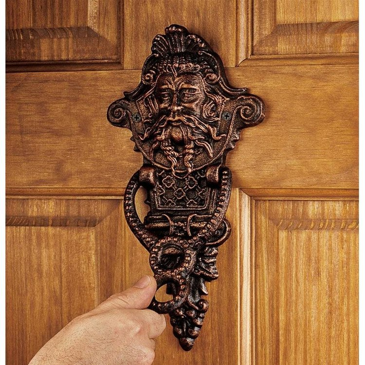View larger image of Winthrop Manor Greenman Authentic Foundry Iron Door Knocker: Set of Two