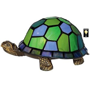 Wisdom and Wealth Turtle Illuminated Stained Glass Lamp