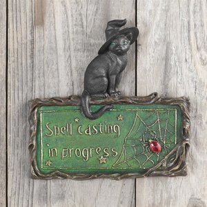 Witchs Cat Sign Wall Sculpture