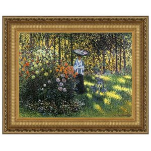Woman with a Parasol in the Garden in Argenteuil, 1875: Canvas Replica Painting: Medium