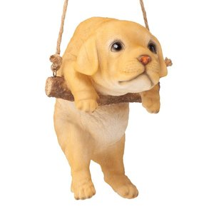 Yellow Lab Puppy on a Perch Hanging Dog Sculpture
