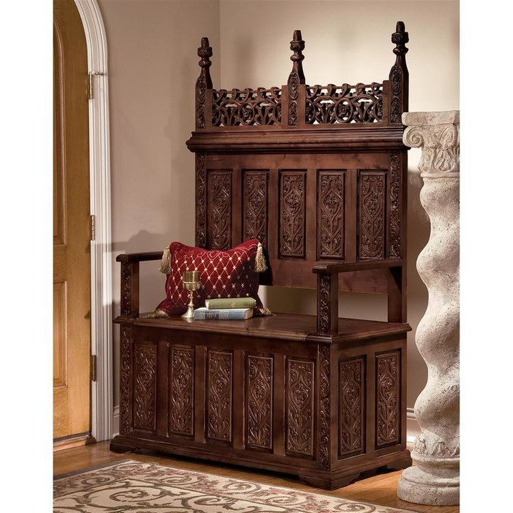 View larger image of York Monastery Solid Hardwood Gothic Bench