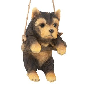 Yorkie Puppy on a Perch Hanging Dog Sculpture