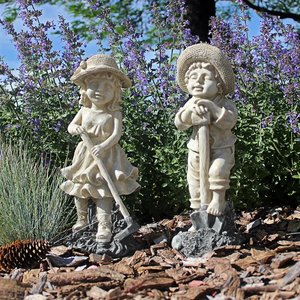Young Gardener Statues: Medium Set of Two