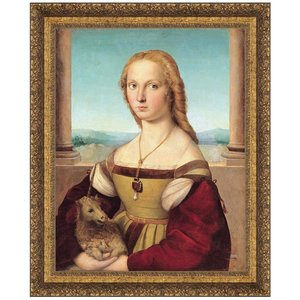 Young Woman with Unicorn, 156: Canvas Replica Painting: Medium