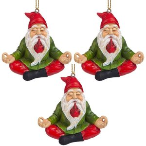 Zen Gnome Holiday Ornament: Set of 3