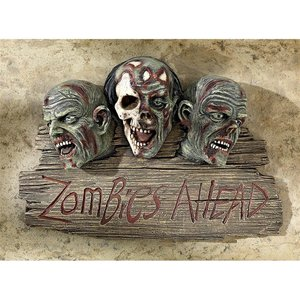 Zombies Ahead Welcome Wall Sculpture Sign